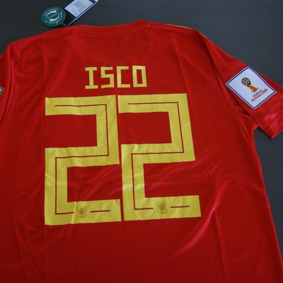 9a712e930 Adidas Men s Spain 18 19 Away Jersey Red Bold Gold